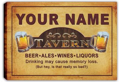 Personalized Custom Tavern Beer Mugs Bar Stretched Canvas Sign