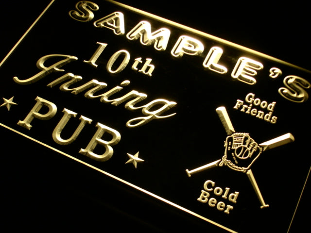 Personalized 10th Inning Pub LED Sign (Three Sizes) LED Signs - The Beer Lodge