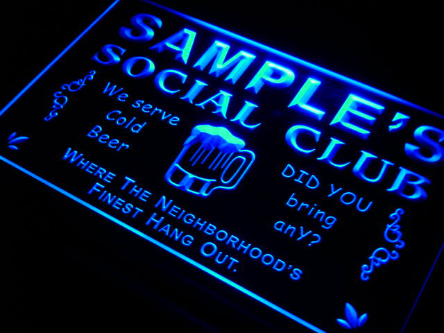 Personalized Social Club LED Sign (Three Sizes) LED Signs - The Beer Lodge