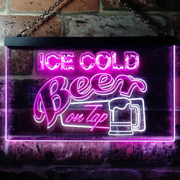 Ice Cold Beer On Tap Two Colors LED Home Bar Sign (Three Sizes) LED Signs - The Beer Lodge