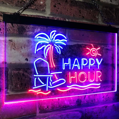 Happy Hour Two Colors LED Home Bar Sign (Three Sizes) LED Signs - The Beer Lodge