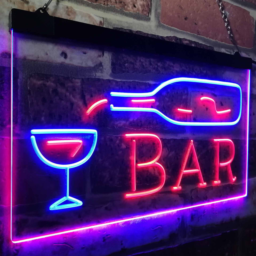 Bar Pouring Glass Two Colors LED Home Bar Sign (Three Sizes) LED Signs - The Beer Lodge