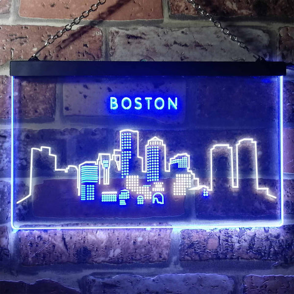 Boston City Skyline Two Colors LED Home Bar Sign (Three Sizes) LED Signs - The Beer Lodge