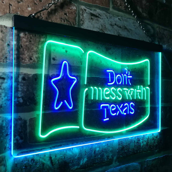 Don't Mess with Texas Two Colors LED Home Bar Sign (Three Sizes)