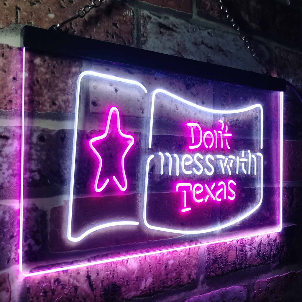 Don't Mess with Texas Two Colors LED Home Bar Sign (Three Sizes) LED Signs - The Beer Lodge