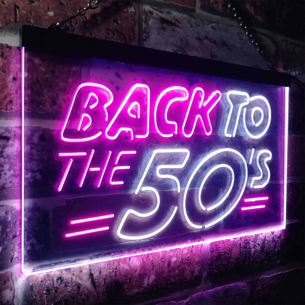 Back to The 50's Garage Two Colors LED Home Bar Sign (Three Sizes) LED Signs - The Beer Lodge