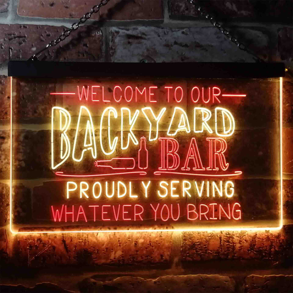 Welcome to Our Backyard Bar Two Colors LED Home Bar Sign (Three Sizes)