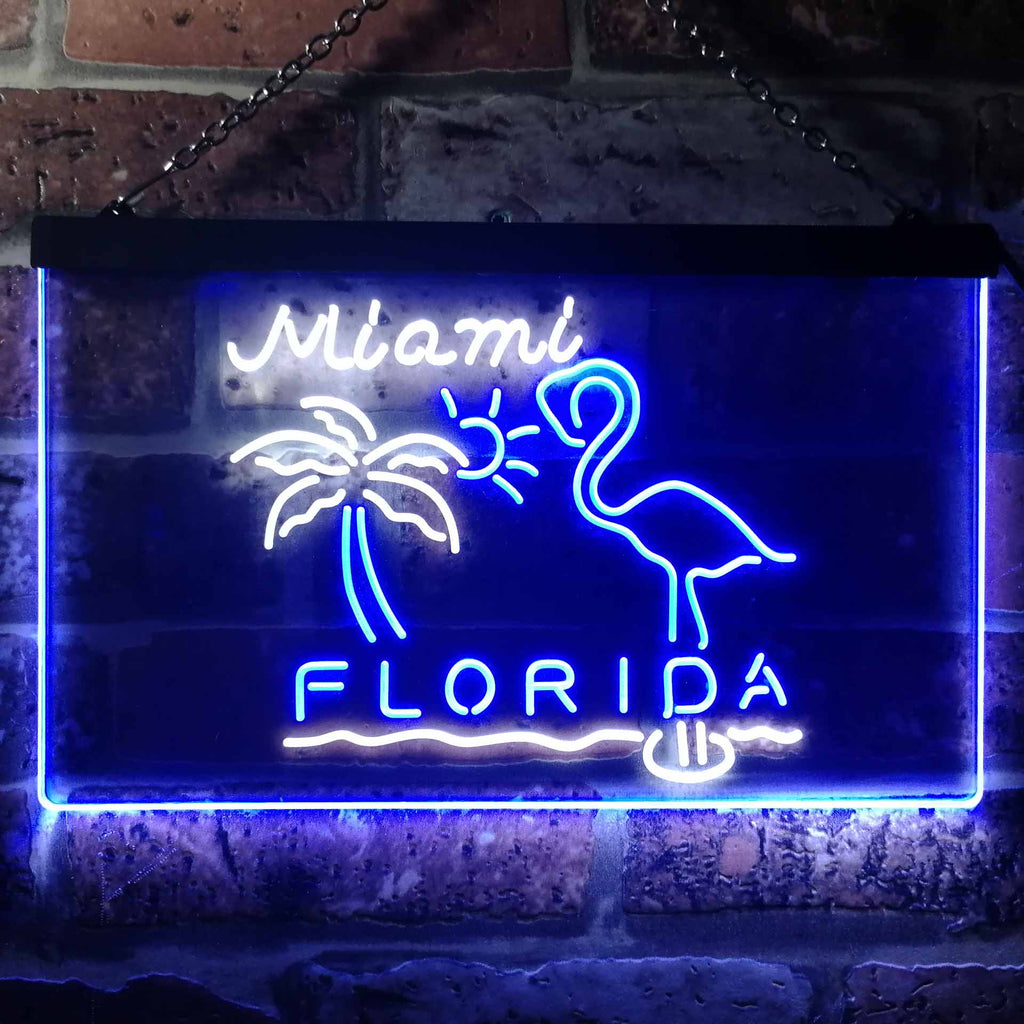 Miami Florida Sunshine Flamingo Two Colors LED Home Bar Sign (Three Sizes)