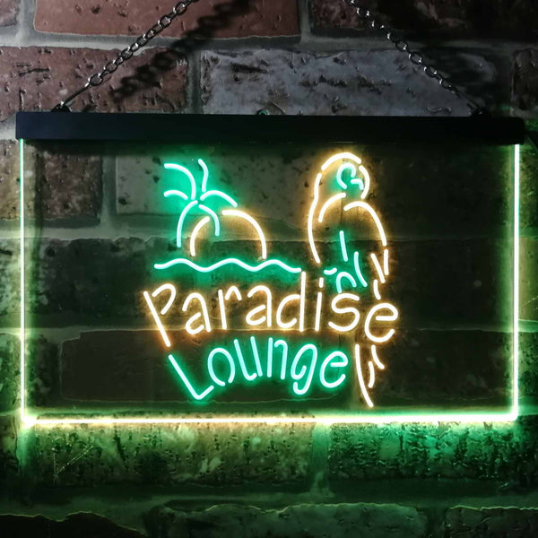Paradise Lounge Parrot Two Colors LED Home Bar Sign (Three Sizes)
