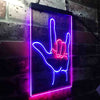 Rock and Roll Hand Music Metal Bar Two Color LED Sign (Three Sizes)