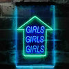 Girls Girls Girls Arrow Room Display Two Color LED Sign (Three Sizes)
