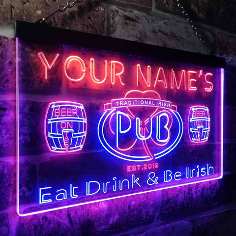 Personalized Traditional Irish Pub Two Colors Home Bar LED Sign (Three Sizes)