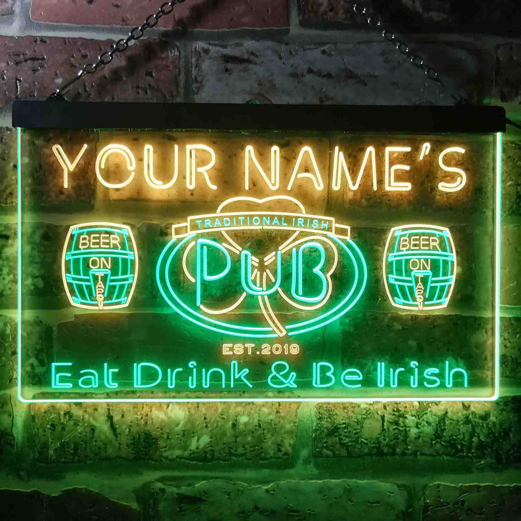 Personalized Traditional Irish Pub Two Colors Home Bar LED Sign (Three Sizes) LED Signs - The Beer Lodge