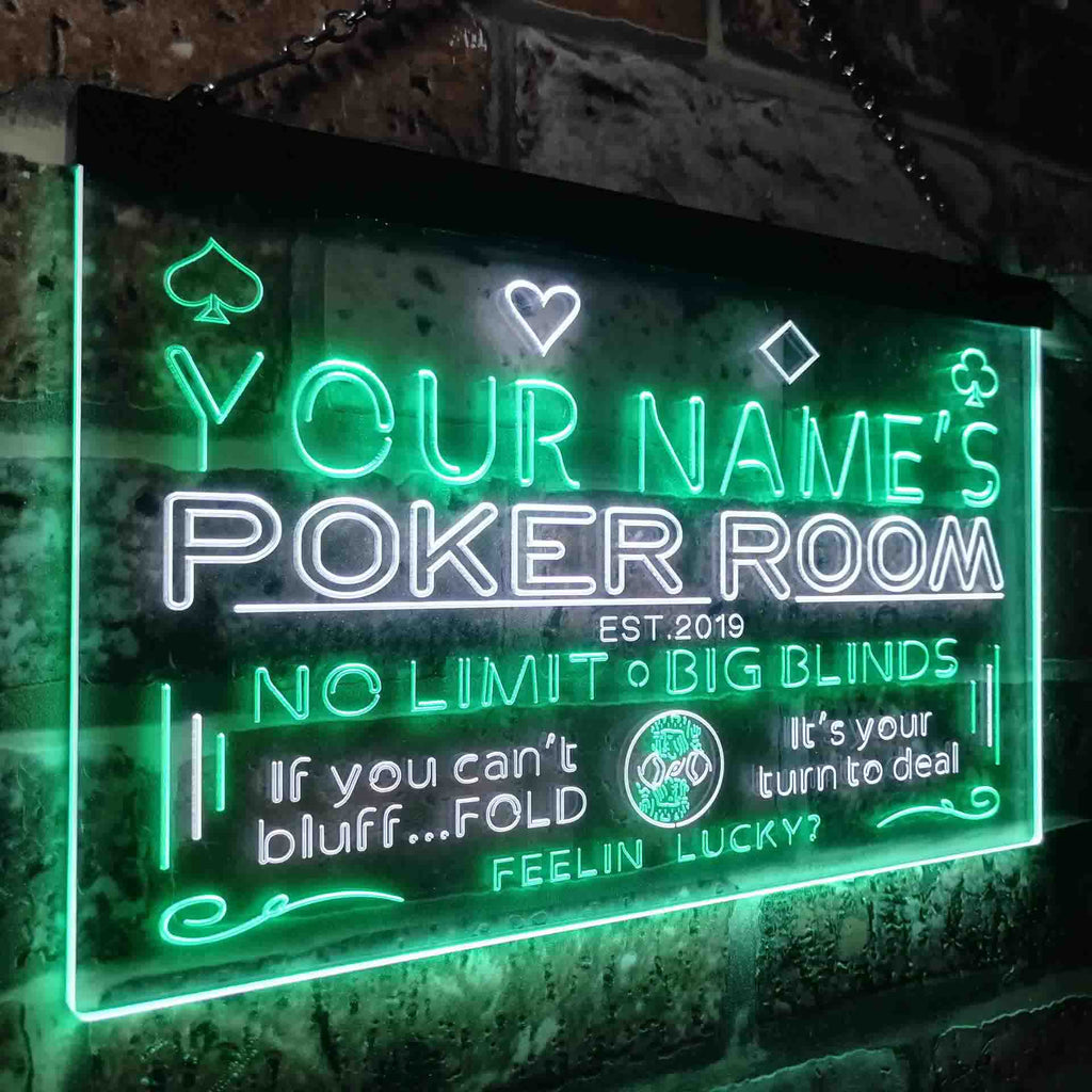 Personalized Poker Room Two Colors LED Sign (Three Sizes)