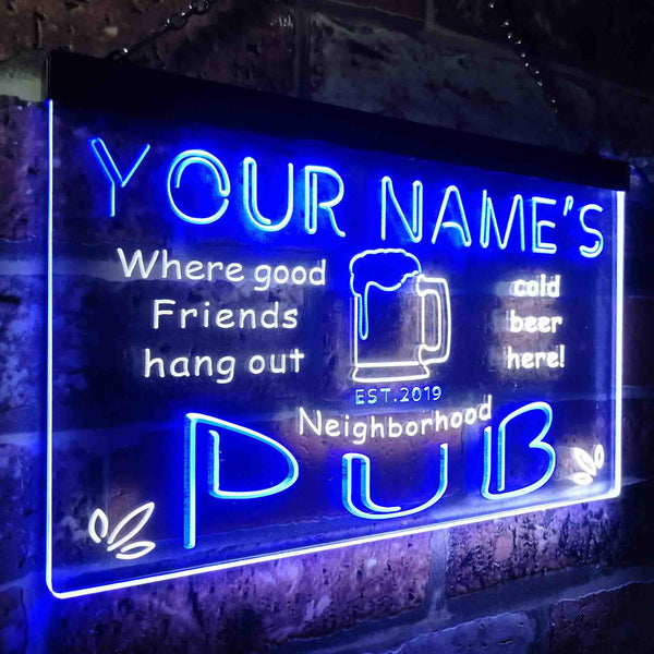 Personalized Neighborhood Pub Two Colors Home Bar LED Sign (Three Sizes)