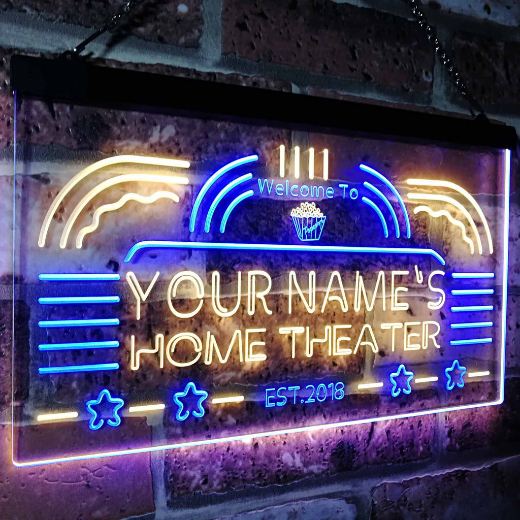 Personalized Home Theater Two Colors LED Home Bar Sign (Three Sizes) LED Signs - The Beer Lodge