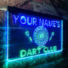 Personalized Dart Club Two Colors LED Sign (Three Sizes)