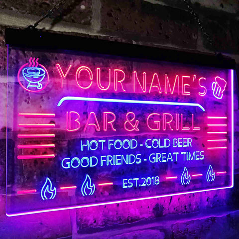 Personalized Bar & Grill Two Colors LED Sign (Three Sizes) LED Signs - The Beer Lodge