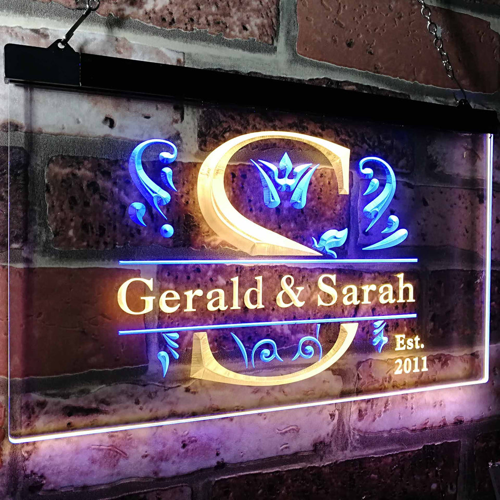 Personalized Couples Name Two Color LED Sign (Three Sizes) LED Signs - The Beer Lodge