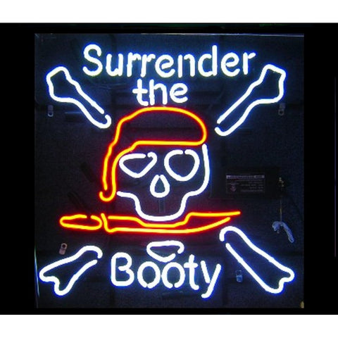 Surrender The Booty Neon Home Bar Sign Neon Sign - The Beer Lodge