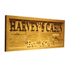 Personalized Harvey's Cabin Wooden Home Bar Sign