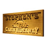 Personalized Cabin Hideaway Wooden Home Bar Sign