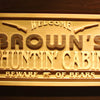 Personalized Huntin Cabin Beware of Bears Wooden Home Bar Sign