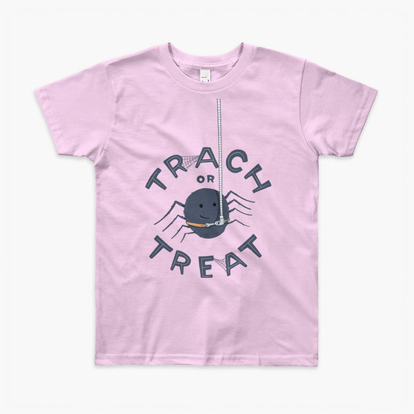 A halloween spider with a trach or tracheostomy is hanging from his vent tubing with Trach or Treat for StomaStoma on a pink youth t-shirt