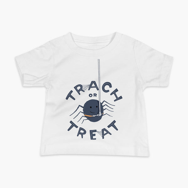 A halloween spider with a trach or tracheostomy is hanging from his vent tubing with Trach or Treat for StomaStoma on a white infant t-shirt