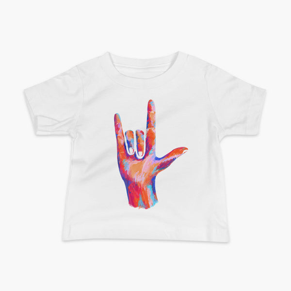 A big colorful hand signing I Love You on a white infant t-shirt.