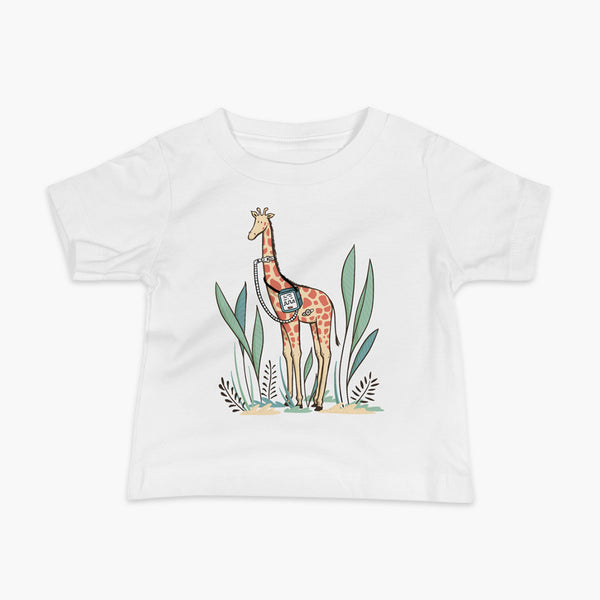 A giraffe with a trach or tracheostomy and a ventilator and g-tube mic-key button standing in a shrubbery with a stoma on a white infant t-shirt
