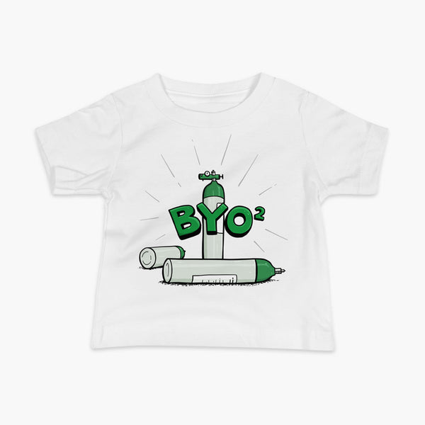 Three oxygen tanks e-tanks, one has a regulator an there is the text BYO2 over the top on a white infant t-shirt