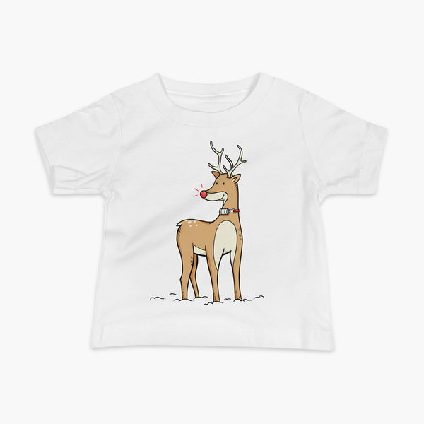 A Christmas reindeer standing in the snow with a tracheostomy or trach and a bright shiny red nose. It has a HMEon a StomaStoma white adult t-shirt.