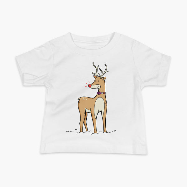 A Christmas reindeer standing in the snow with a tracheostomy or trach and a bright shiny red nose. It has a PMV on a StomaStoma white adult t-shirt.
