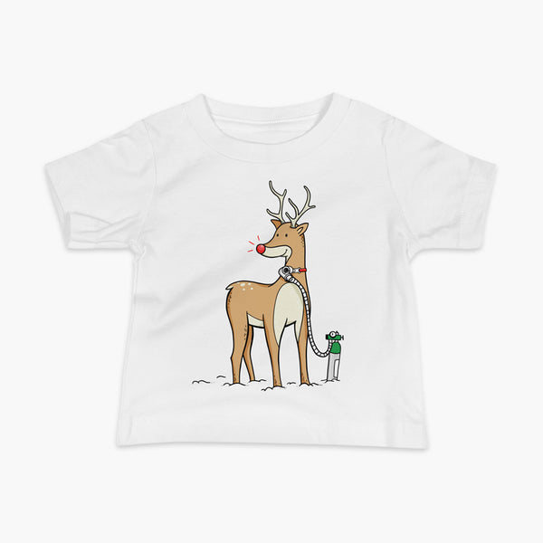 A Christmas reindeer standing in the snow with a tracheostomy or trach and a bright shiny red nose. It has Oxygen or 02 on a StomaStoma white adult t-shirt.