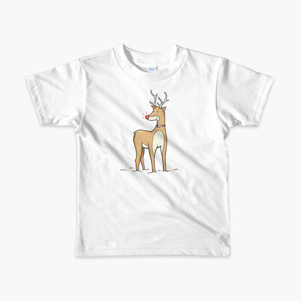A Christmas reindeer standing in the snow with a tracheostomy or trach and a bright shiny red nose. It has a trach on a StomaStoma white adult t-shirt.