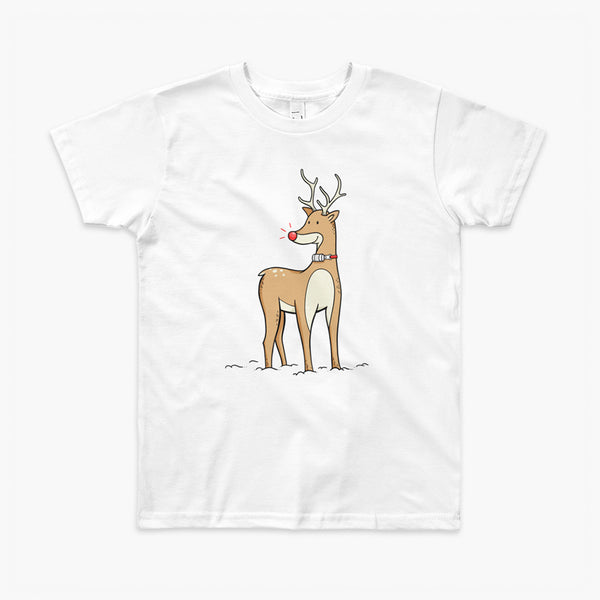 A Christmas reindeer standing in the snow with a tracheostomy or trach and a bright shiny red nose. It has an HME on a StomaStoma white youth t-shirt.