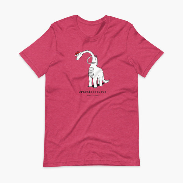 A Christmas dinosaur or trachieosaurus with a trach or tracheostomy and oxygen with a Christmas Santa hat with a stoma on a heather raspberry adult t-shirt