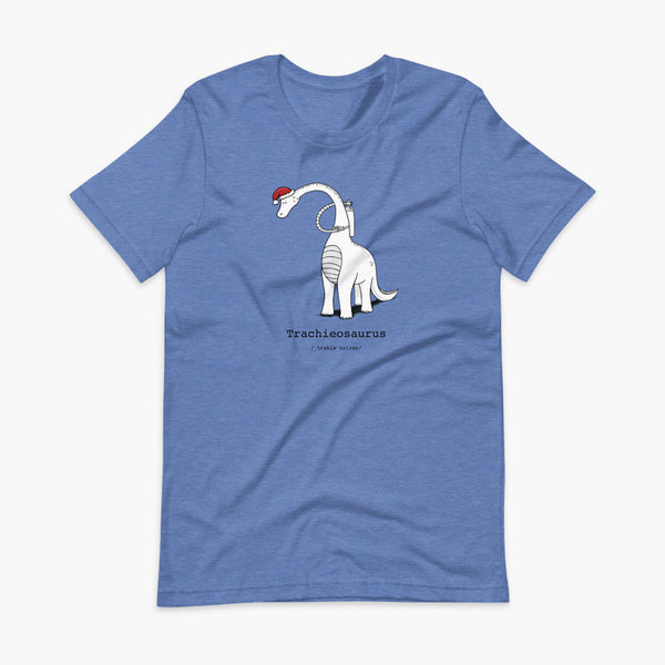 A Christmas dinosaur or trachieosaurus with a trach or tracheostomy and oxygen with a Christmas Santa hat with a stoma on a heather true royal blue adult t-shirt
