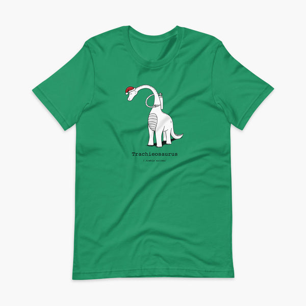 A Christmas dinosaur or trachieosaurus with a trach or tracheostomy and oxygen with a Christmas Santa hat with a stoma on a kelly green adult t-shirt