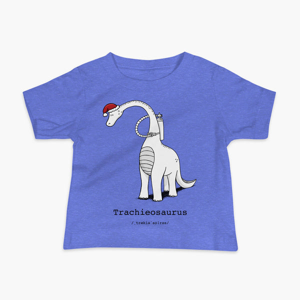 A Christmas dinosaur or trachieosaurus with a trach or tracheostomy and oxygen with a Christmas Santa hat with a stoma on a heather blue infant t-shirt
