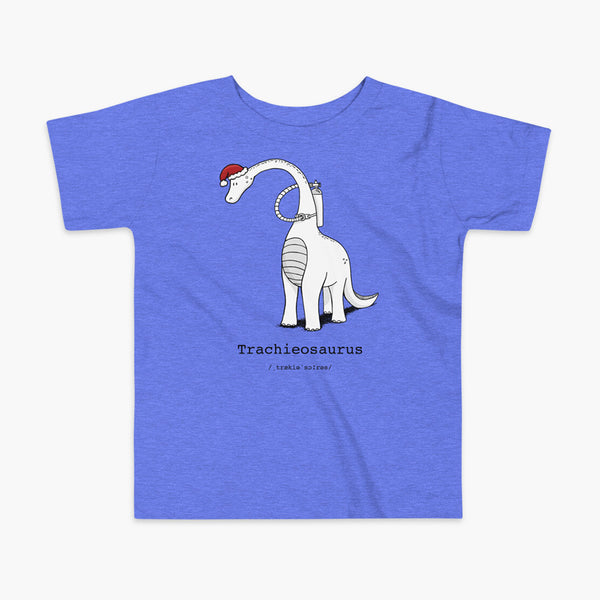 A Christmas dinosaur or trachieosaurus with a trach or tracheostomy and oxygen with a Christmas Santa hat with a stoma on a heather blue kids t-shirt