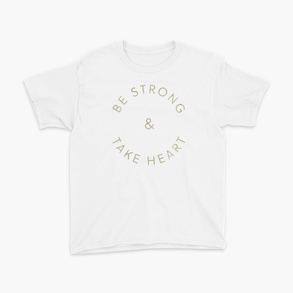 Be Strong & Take Heart  text in a circle youth t-shirt for living the tubie and trach life with a tracheostomy by StomaStoma apparel white