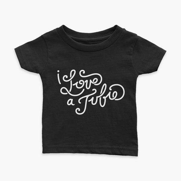 G-Tube tubie and Empower Infant T-Shirt I-Love-A-Tubie Script Black StomaStoma apparel