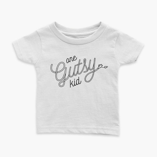 one gutsy kid g-tube feeding tube infant t-shirt tubie wrapping and venting for living the tube life StomaStoma apparel