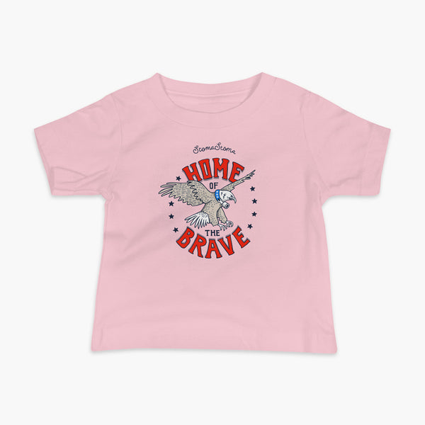 A patriotic American bald eagle with a trach or tracheostomy for the 4th of July and the words StomaStoma Home of the Brave and stars on a pink infant t-shirt