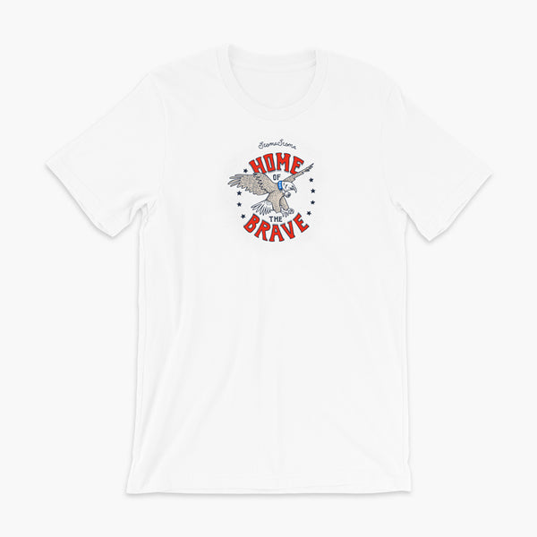 A patriotic American bald eagle with a trach or tracheostomy for the 4th of July and the words StomaStoma Home of the Brave and stars on a white adult t-shirt