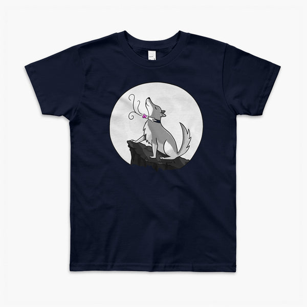 A wolf with a trach or tracheostomy howls at the full moon with his PMV or Passy Muir speak valve on a navy youth t-shirt