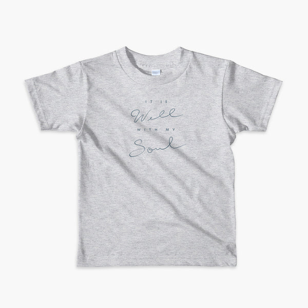 Typography centered that says it is well with my soul on a heather grey kids  t-shirt