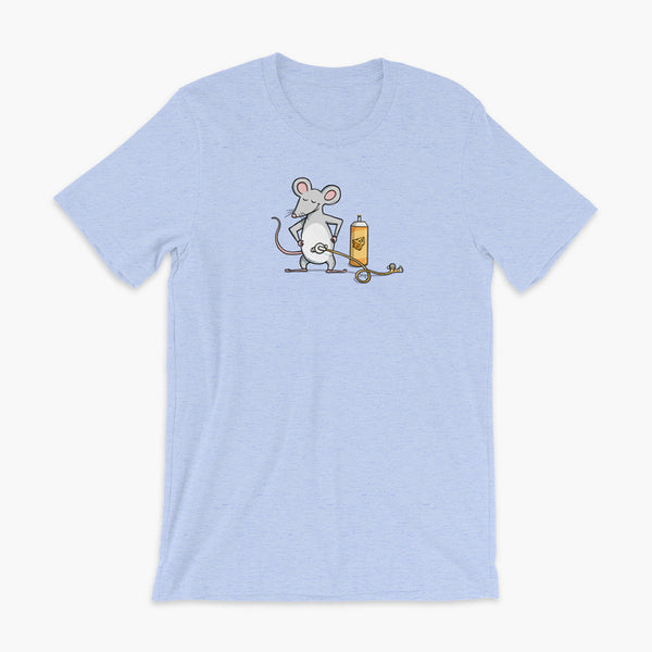A mouse with a Mic-Key button and a g-tube extension confidently standing in front of a bottle of cheese or whiz with cheese in the g-tube on a heather blue adult t-shirt